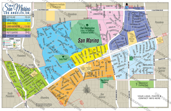 San Marino Map, Los Angeles County, CA