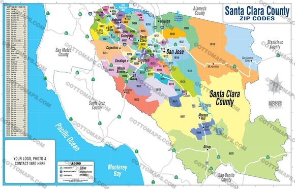Santa Clara County Zip Code Map