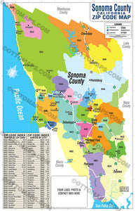 Sonoma County Zip Code Map - PDF, editable, royalty free