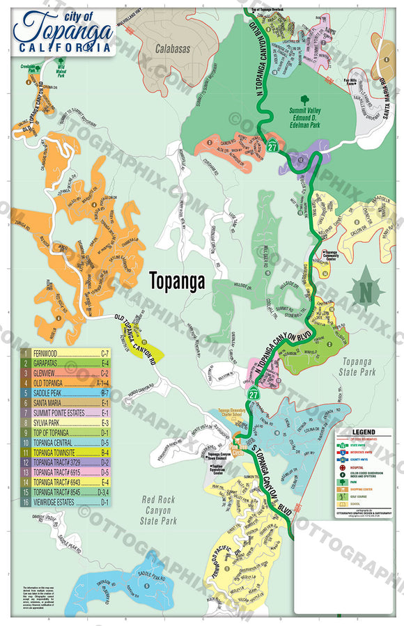 Topanga Map, Los Angeles County, CA