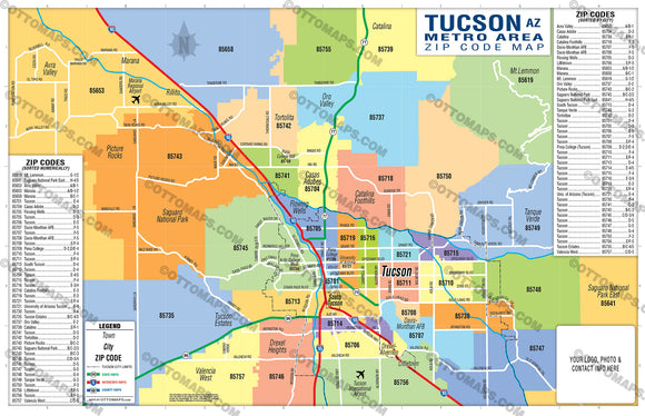 Tucson Metro Area Zip Code Map - PDF, editable, royalty free