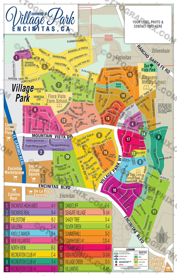 Village Park Map, San Diego County, CA