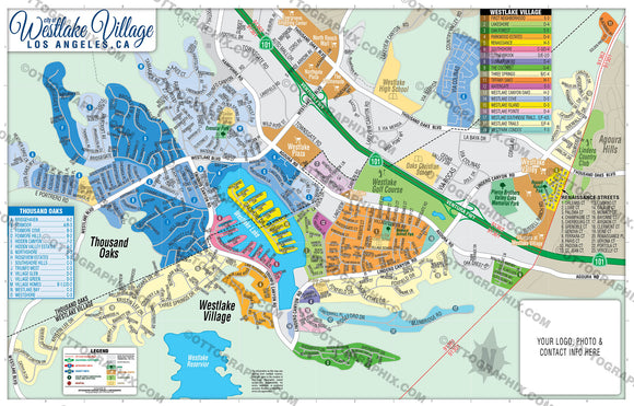 Westlake Village Map, Los Angeles County, CA