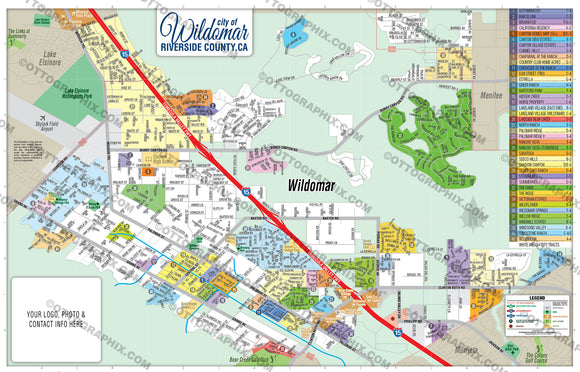 Wildomar Map - PDF, Editable, Royalty Free