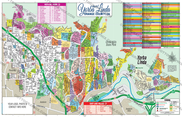 Yorba Linda Map, Orange County, CA
