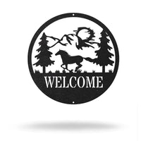"Steel Roots Decor 12"" / Black Horse Welcome"