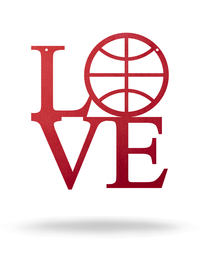 "Steel Roots Decor 12"" / Candy Red I Love Basketball"