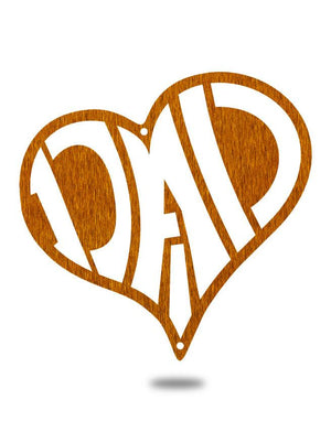 "Steel Roots Decor 12"" / Copper Dad Heart"