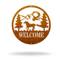 "Steel Roots Decor 12"" / Copper Horse Welcome"