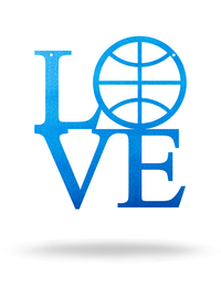 "Steel Roots Decor 12"" / Metallic Blue I Love Basketball"