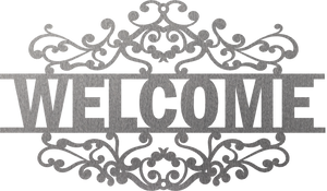 "Steel Roots Decor 18"" ""Welcome Sign"" Fancy Scroll"