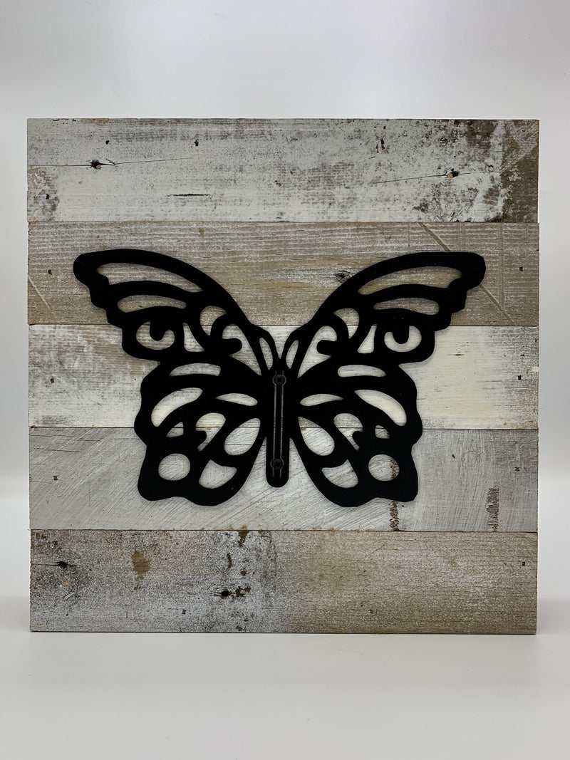 "Steel Roots Decor 3D Butterfly Metal Monogram on Reclaimed Wood 10""x10"""