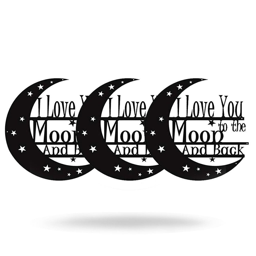 "Steel Roots Decor 8"" / Black I Love You Too The Moon & Back (3 Pack)"