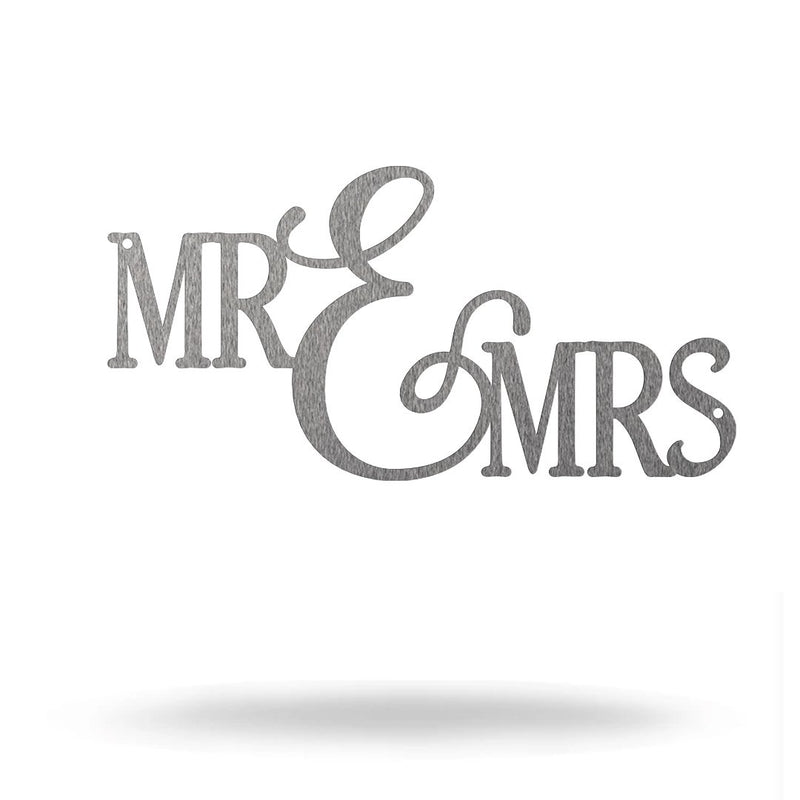 "Steel Roots Decor 8"" / Silver Mr and Mrs"