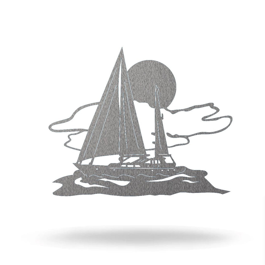 "Steel Roots Decor 8"" / Silver Sail Boat"