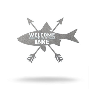 "Steel Roots Decor 8"" / Silver Welcome to the Lake"