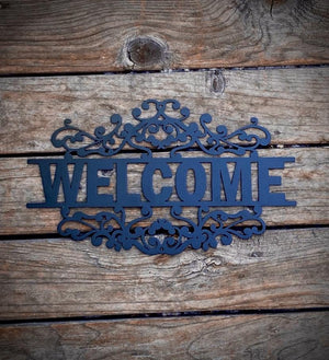 "Steel Roots Decor Black 18"" ""Welcome Sign"" Fancy Scroll"