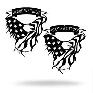 Steel Roots Decor Black In God We Trust Eagle (2 pack)