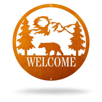 "Steel Roots Decor Copper / 12"" Bear - Welcome Sign"