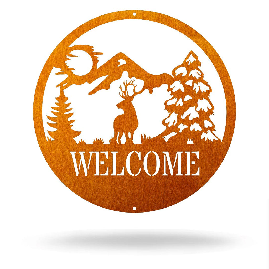 "Steel Roots Decor Copper / 12"" Dear - Welcome Sign"
