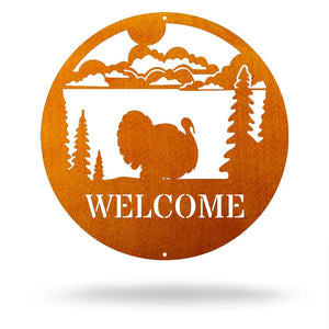 "Steel Roots Decor Copper / 12"" Turkey - Welcome Sign"