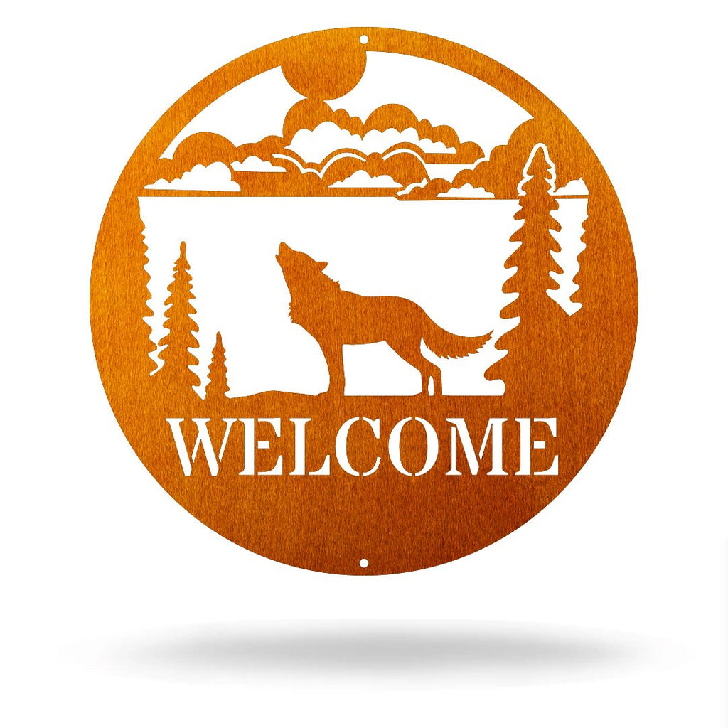 "Steel Roots Decor Copper / 12"" Wolf - Welcome Sign"