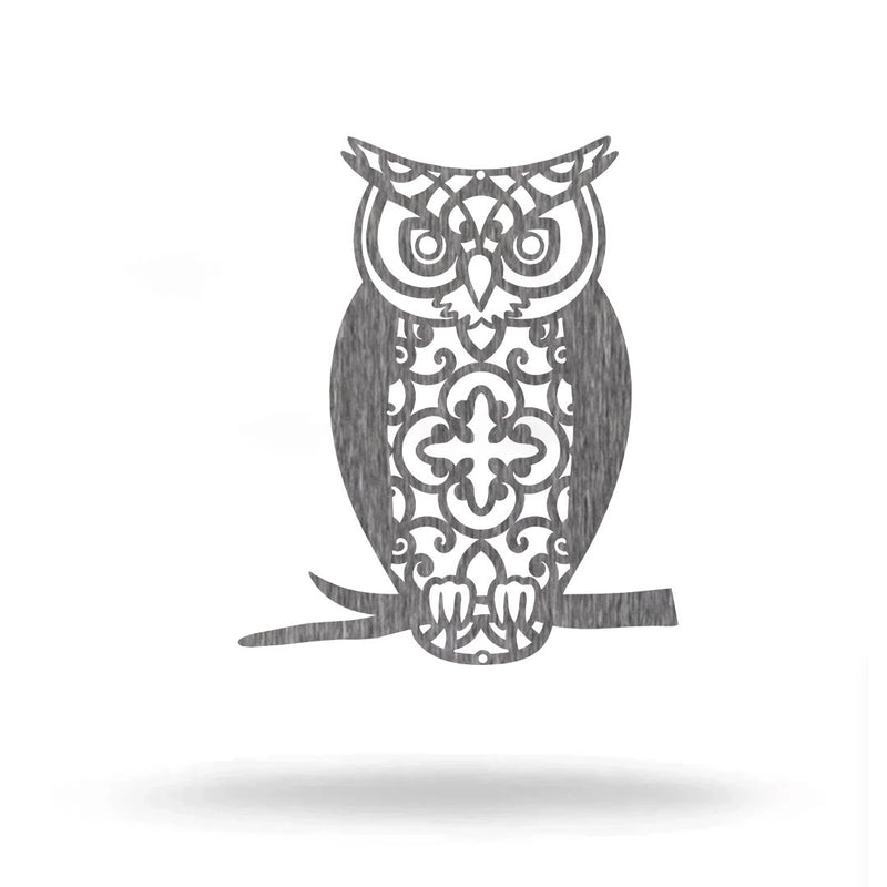 "Steel Roots Decor Pet Decor Polished Charcoal / 12"" Owl Monogram"