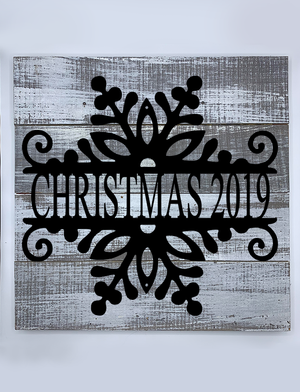 Steel Roots Decor Reclaimed Wood Snowflake Monogram