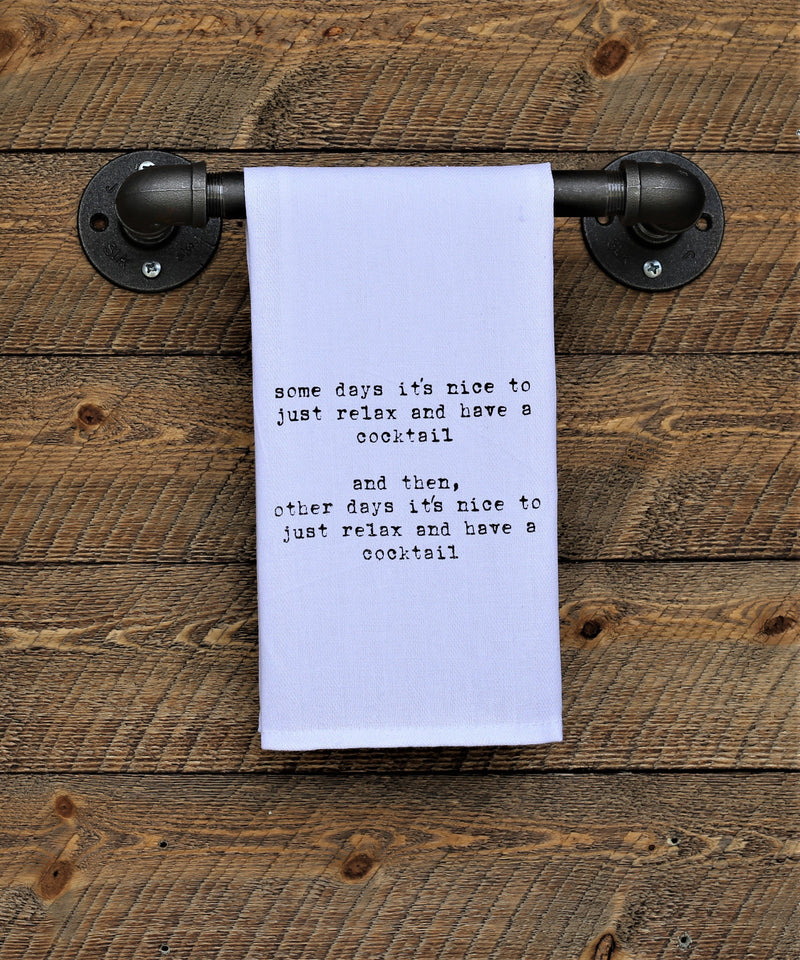 Steel Roots Decor Relax Cocktail Quote Hand Towel