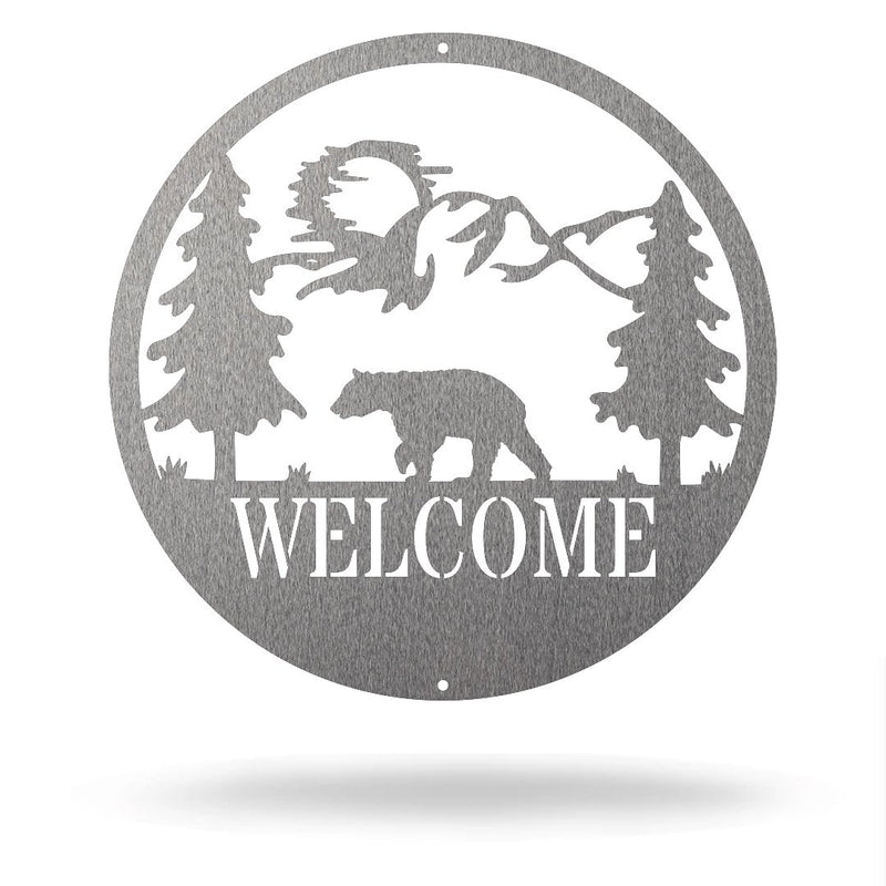 "Steel Roots Decor Silver / 12"" Bear - Welcome Sign"