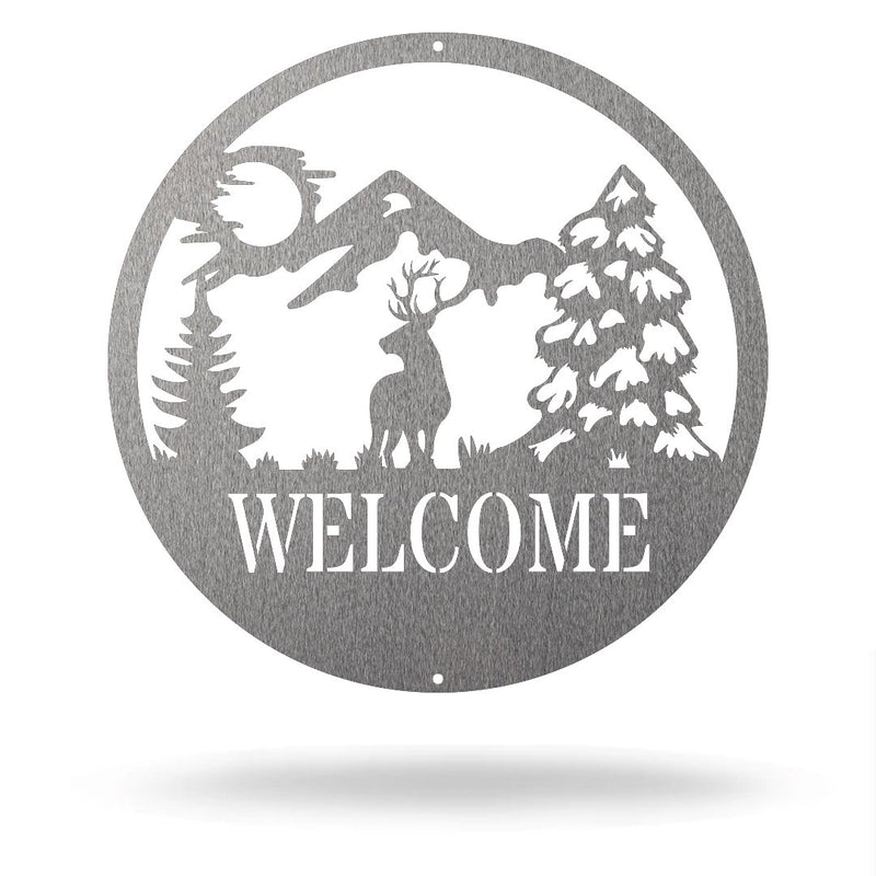 "Steel Roots Decor Silver / 12"" Dear - Welcome Sign"