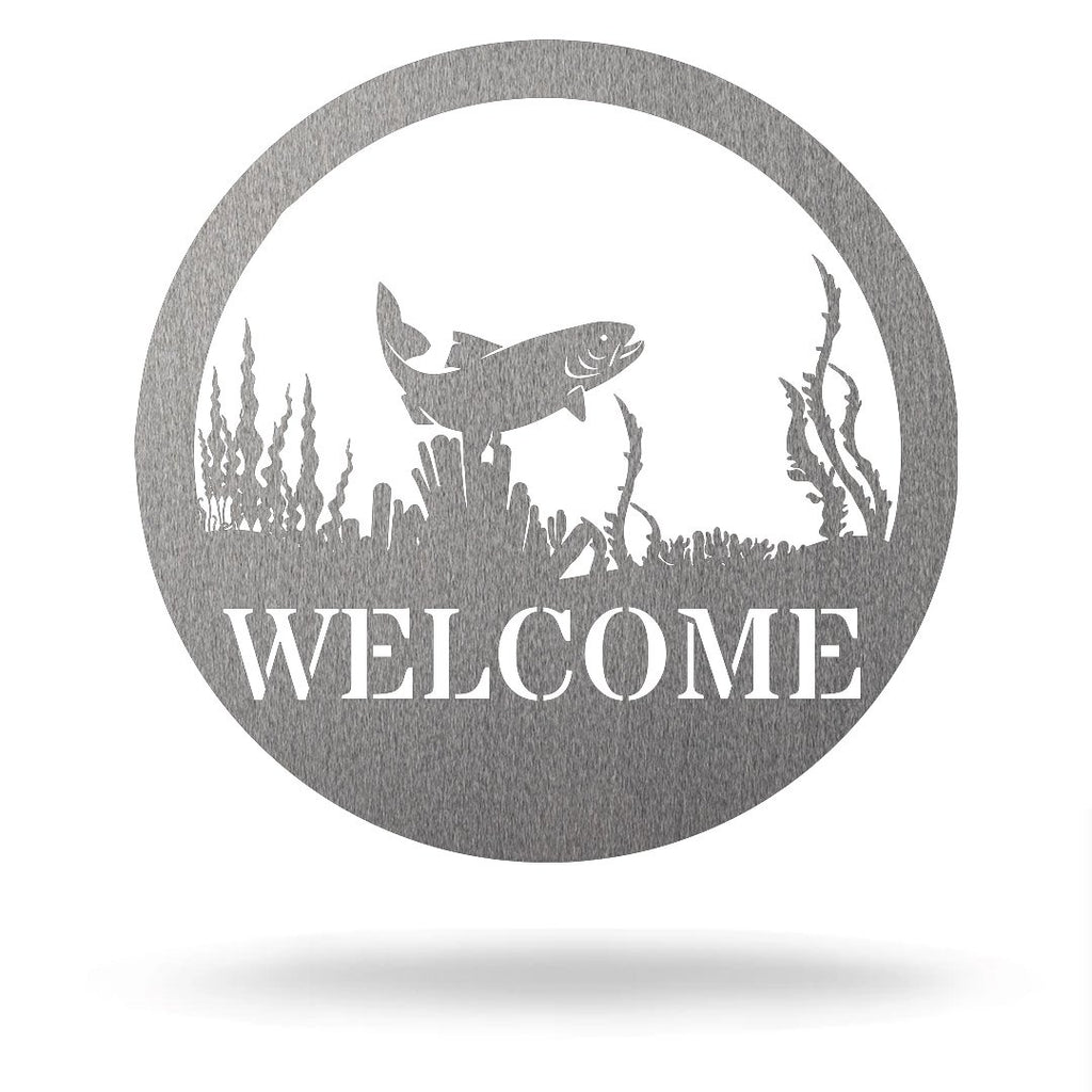 "Steel Roots Decor Silver / 12"" Trout - Welcome Sign"