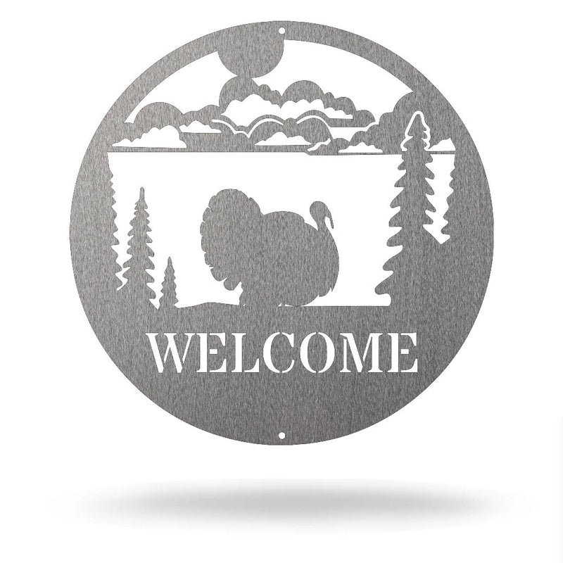 "Steel Roots Decor Silver / 12"" Turkey - Welcome Sign"
