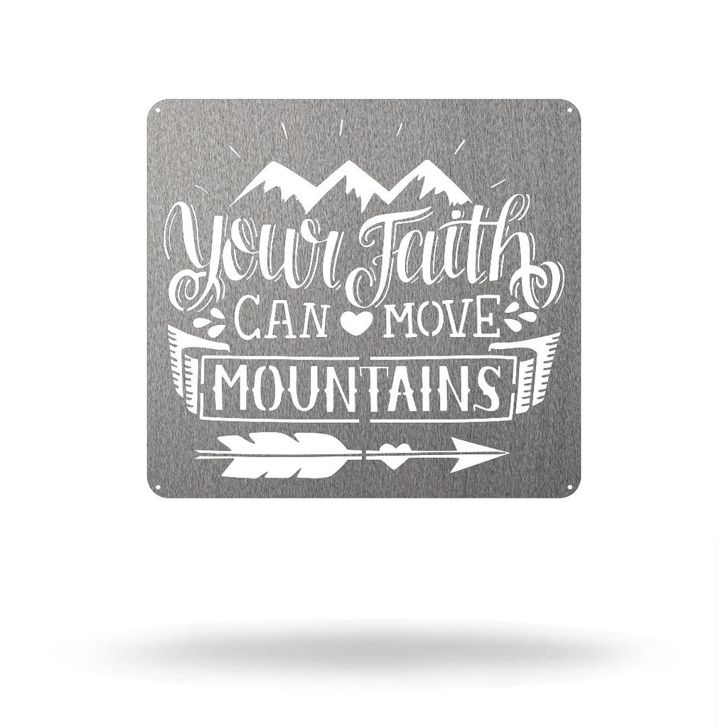 "Steel Roots Decor Silver / 18"" Faith Can Move Mountains"