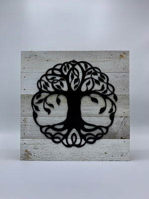 Steel Roots Decor Tree of Life Metal Monogram on Reclaimed Wood