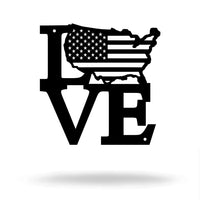 "Steel Roots Decor Under 10 8"" / Black LOVE AMERICA- Free Friday"