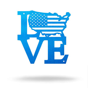 "Steel Roots Decor Under 10 8"" / Metallic Blue LOVE AMERICA- Free Friday"