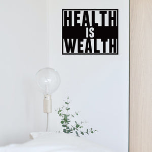 "Steel Roots Decor Wall Decor 12"" / Black Health is wealth"