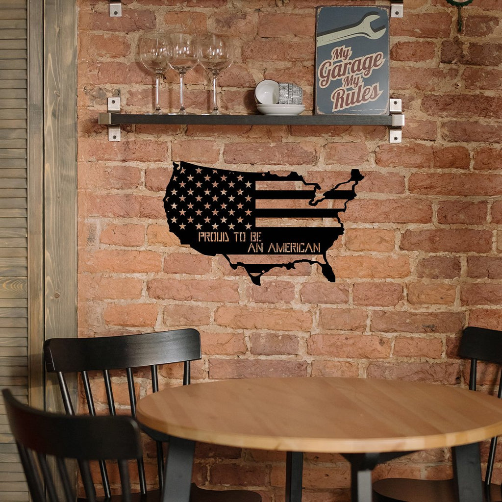 "Steel Roots Decor Wall Decor 18"" / Multi Color Proud To Be An American - Americana Edition"