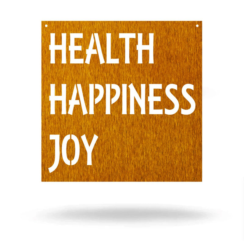 "Steel Roots Decor Wall Decor Copper / 12"" Health happiness joy"