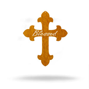 "Steel Roots Decor Wall Decor Copper / 18"" Blessed Cross Metal Wall Art"