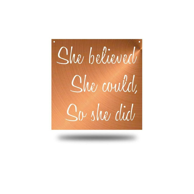 "Steel Roots Decor Wall Decor Copper / 18"" She Believed"