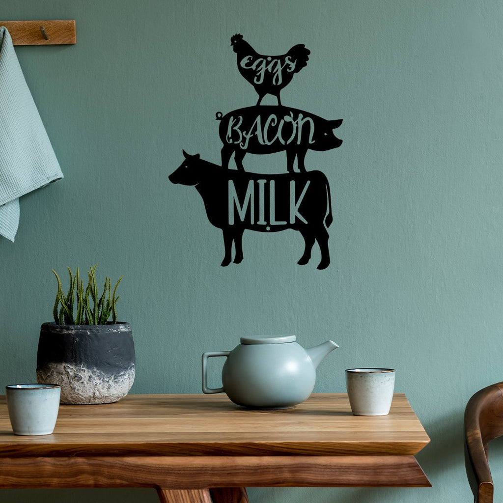 Steel Roots Decor Wall Decor Eggs Bacon Milk