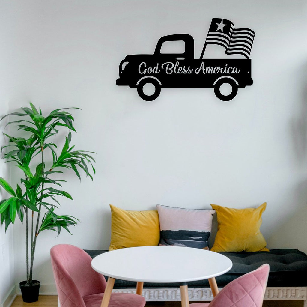 Steel Roots Decor Wall Decor God Bless America Old Truck