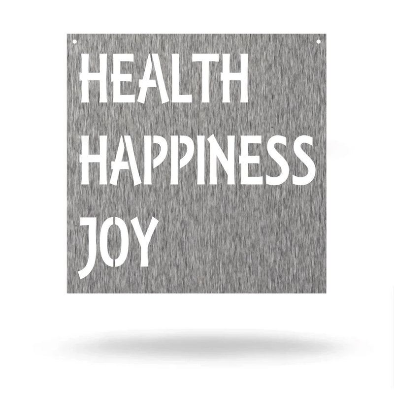 "Steel Roots Decor Wall Decor Polished Charcoal / 12"" Health happiness joy"