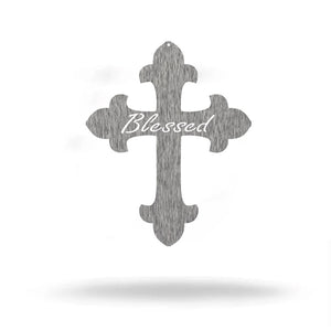 "Steel Roots Decor Wall Decor Polished Charcoal / 18"" Blessed Cross Metal Wall Art"