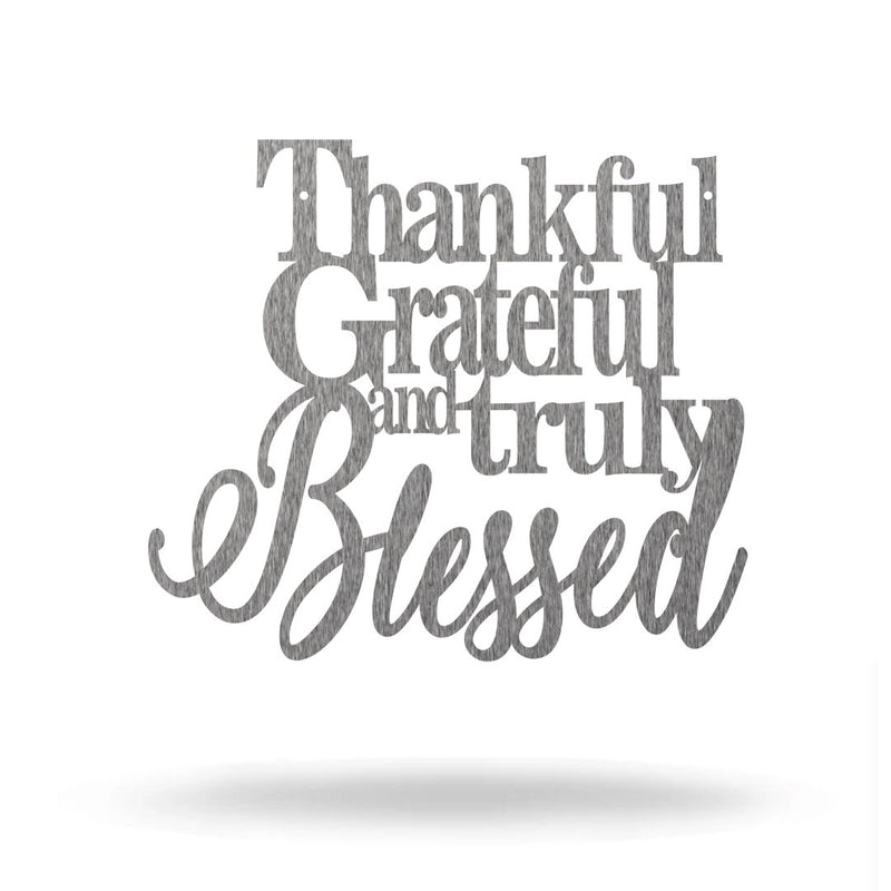 "Steel Roots Decor Wall Decor Polished Charcoal / 8"" Thankful Grateful and Truly Blessed  - Sale"