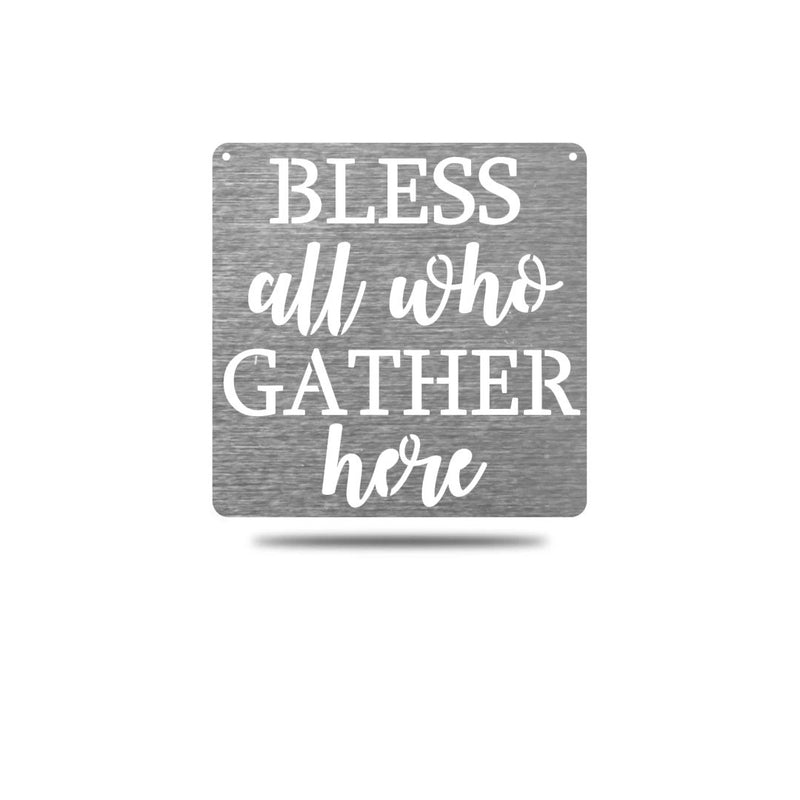 "Steel Roots Decor Wall Decor Polished Charcoal / 12"" Bless All Who Gather Here"