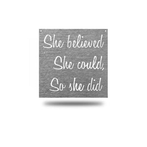 "Steel Roots Decor Wall Decor Polished Charcoal / 18"" She Believed"