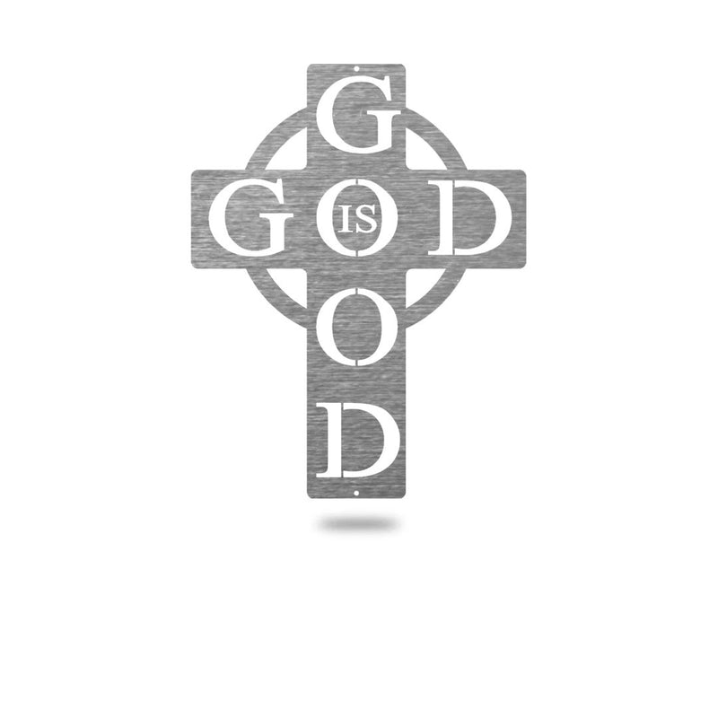 "Steel Roots Decor Wall Decor Polished Charcoal / 8"" God is Good"
